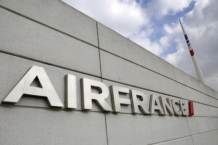 The Air France logo is seen on the Air France headquarters building at the Charles de Gaulle International Airport in Roissy, near Paris on the second week of a strike by Air France pilots