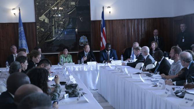 United Nations Secretary General Ban holds a meeting with Ebola response partners in the Monrovia City Hall