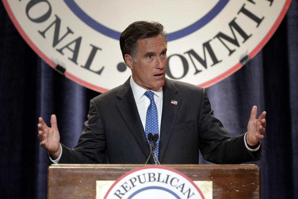 Republican presidential candidate, former Massachusetts Gov. Mitt Romney speaks at the RNC State Chairman's National Meeting in Scottsdale, Ariz., Friday, April 20, 2012. (AP Photo/Jae C. Hong)