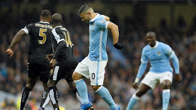 Manchester City's Sergio Aguero appears injured