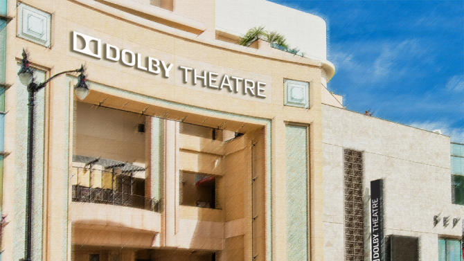 This artist rendering released by Dolby Laboratories shows the new Dolby Theatre, formerly the Kodak Theatre, on Hollywood Boulevard in Los Angeles. The posh 3,400-seat Hollywood & Highland Center home of the Academy Awards is officially christened with a new name and a state-of-the-art audiovisual system that can project 3-D imagery and blast sound from multiple perspectives. (AP Photo/Dolby Laboratories)