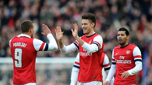 Olivier Giroud, centre, opened the scoring for Arsenal against FA Cup opponents Brighton
