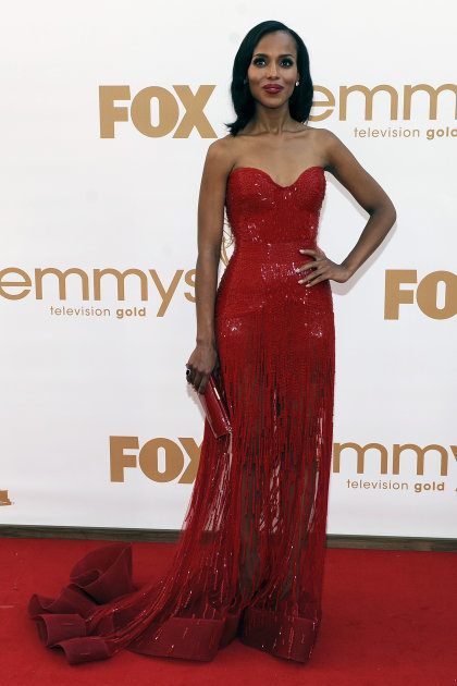 Kerry Washington arrives at the 63rd Primetime Emmy Awards on Sunday, Sept. 18, 2011 in Los Angeles. (AP Photo/Chris Pizzello)