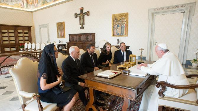 Pope Francis meets Rome's Mayor Marino during a private audience at the Vatican