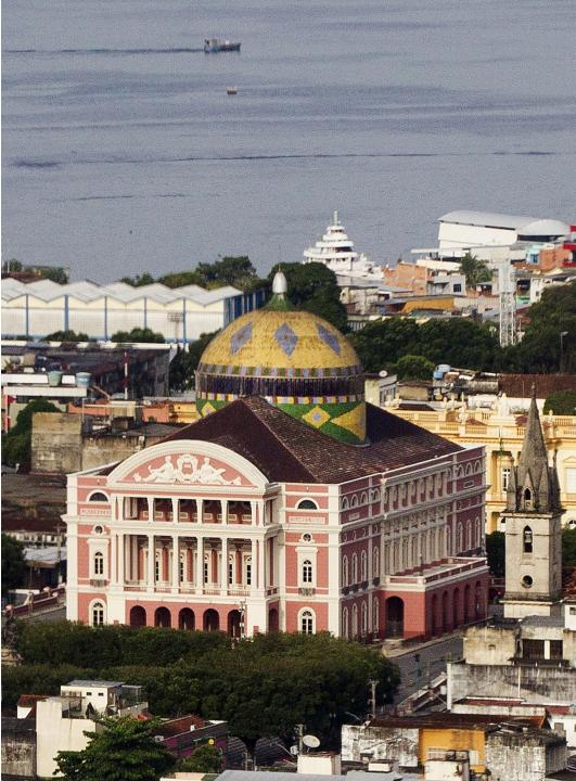 An aerial view of the Amazonas Theatre in the center of Manaus
