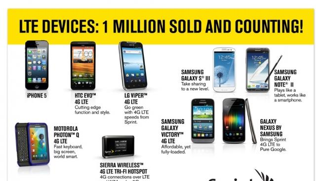 Sprint has sold 1 million LTE devices so far