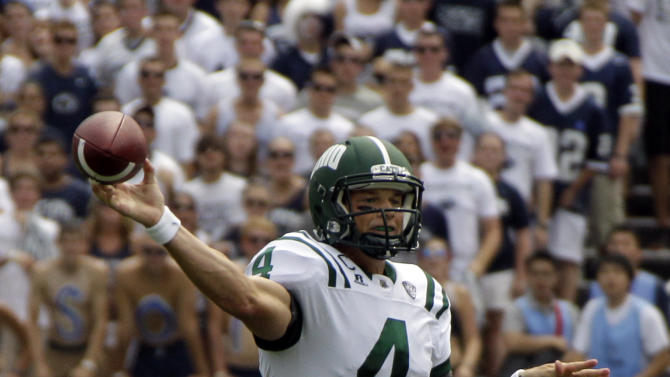 Ohio quarterback Tyler Tettleton (4) throws a pass during the first quarter of an NCAA college football game against Penn State at Beaver Stadium in State College, Pa., Saturday, Sept. 1, 2012. (AP Photo/Gene J. Puskar)