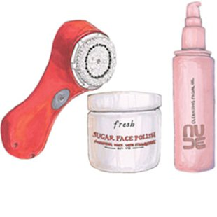 CLARISONIC MIA SONIC SKIN CLEANSING SYSTEM, $119, SEPHORA.COM.FRESH SUGAR FACE POLISH, $55, FRESH.COM. NUDE CLEANSING FACIAL OIL, $36, SEPHORA.COM