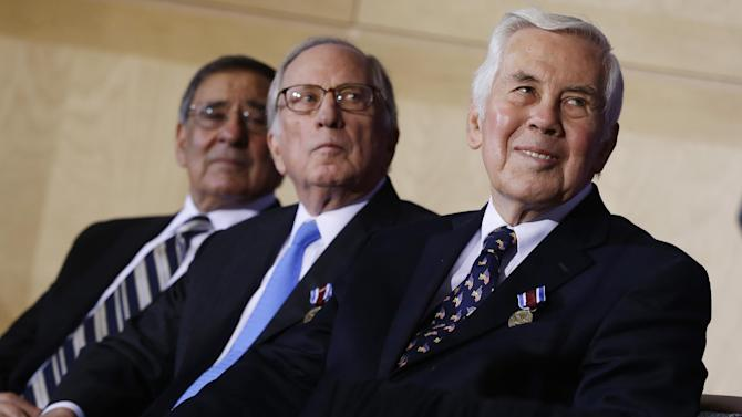 Sen. Dick Lugar, R-Ind., right, former Sen. Sam Nunn, D-Ga., center, and Defense Secretary Leon Panetta, left, listen as President Barack Obama, not pictured, speaks at  the Nunn-Lugar Cooperative Threat Reduction (CTR) symposium being held at the National Defense University at Fort McNair in Washington, Monday, Dec. 3, 2012.(AP Photo/Charles Dharapak)