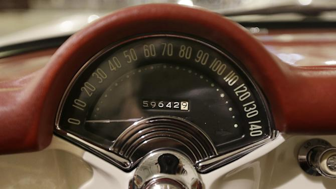 In a Jan. 22, 2013 photo, the speedometer of a 1953 Corvette is seen at the GM Heritage Center in Sterling Heights, Mich. Although current cars with high-horsepower engines can come close to the top speedometer speeds, most are limited by engine control computers. That's because the tires can overheat and fail at higher speeds. (AP Photo/Carlos Osorio)