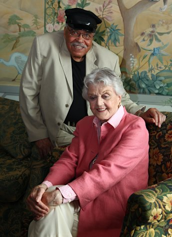 Actors James Earl Jones, left, and Angela Lansbury pose for photos after discussing their rolls in the play &quot;Driving Miss Daisy&quot; in Sydney, Australia, Monday, Jan. 7, 2013. Jones and Lansbury, in Australia to star in a touring production of Alfred Uhry&#39;s Pulitzer-Prize winning play &quot;Driving Miss Daisy,&quot; credit the thrill of performing with their seemingly endless supply of energy, which has propelled them throughout their decades-long careers. (AP Photo/Rick Rycroft)