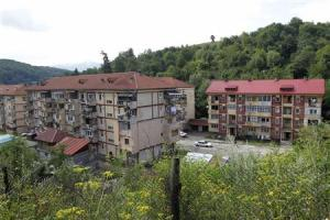 Apartment blocks are seen in Aninoasa, west of Bucharest