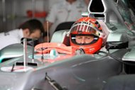 Michael Schumacher in the pits during a practice session for the Bahrain Grand Prix in April. Schumacher, the seven-time champion who dominated Formula One for the best part of a decade, announced his retirement on Thursday not with a garland around his neck, but in the knowledge he&#39;d been replaced by a younger man