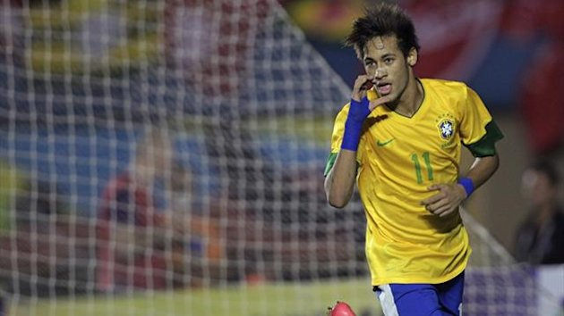 Brazil&#39;s Neymar celebrates after scoring a goal against Argentina in a friendly (Reuters)