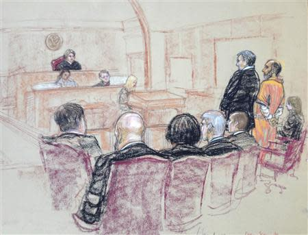 Ahmad, a British national accused of operating a website that promoted jihad and supported al Qaeda, is pictured as he pleads guilty in this courtroom sketch in the U.S. District Court in New Haven