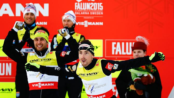 Braud and Lamy Chappuis of France celebrate winning the Nordic combined large hill team 2 x 7.5 km sprint event at the Nordic World Ski Championships in Falun