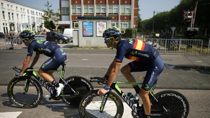 Movistar rider Alejandro Valverde of Spain cycles during a team training session in Utrecht