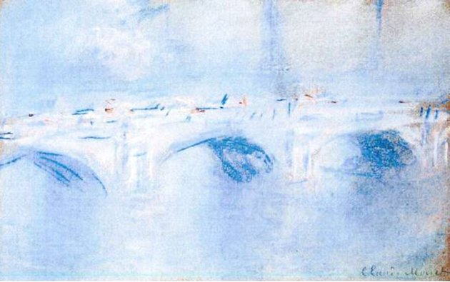 This photo released by the police in Rotterdam, Netherlands, on Tuesday, Oct. 16, 2012, shows the painting 'Waterloo Bridge, London' by Claude Monet. Dutch police say seven paintings stolen from the K