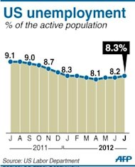 <p>Chart showing the monthly unemployment rate in the US from July 2011. The US economy created a solid 163,000 jobs in July, the Labor Department said Friday, helping President Barack Obama dull attacks from his Republican rival as the White House race intensifies.</p>