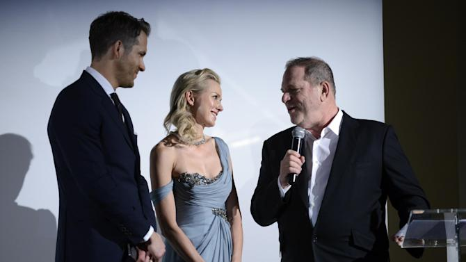 Actress Naomi Watts, center, and producer Harvey Weinstein, right, at the Weinstein Company and World View Entertainment press conference at the 67th international film festival, Cannes, southern France, Friday, May 16, 2014. (Photo by Arthur Mola/Invision/AP)