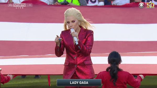 Lady Gaga Performs the National Anthem at Super Bowl