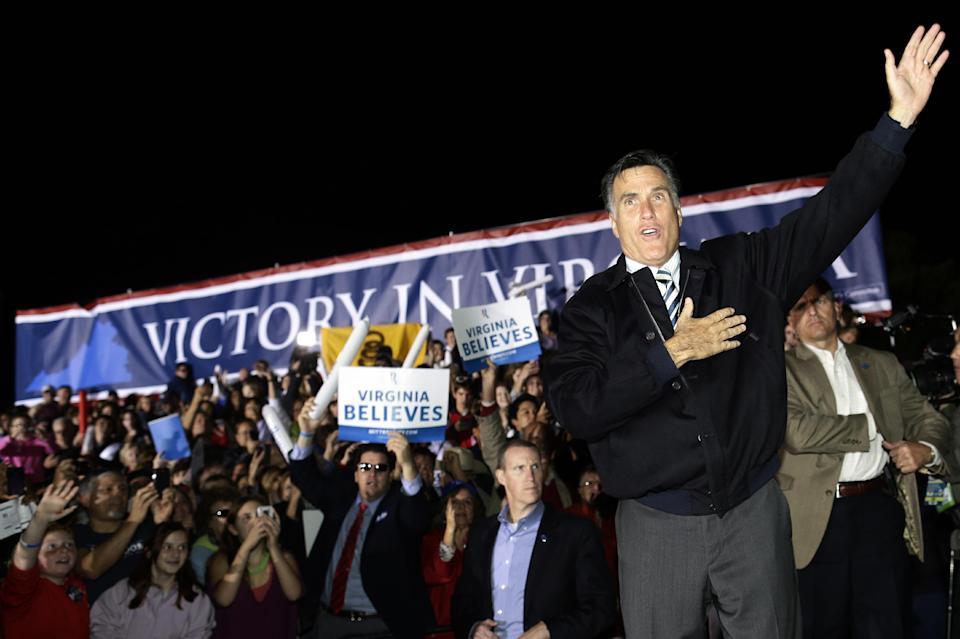Republican presidential candidate and former Massachusetts Gov. Mitt Romney campaigns at Ida Lee Park in Leesburg, Va., Wednesday, Oct. 17, 2012. (AP Photo/Charles Dharapak)