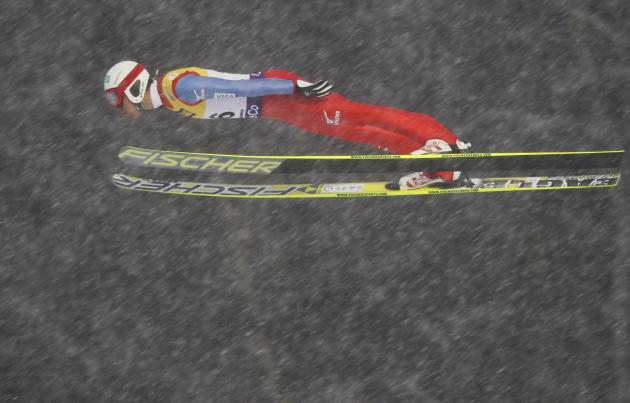 Akito Watabe of Japan jumps at the large hill during the FIS Nordic Combined World Cup competition in Lillehammer