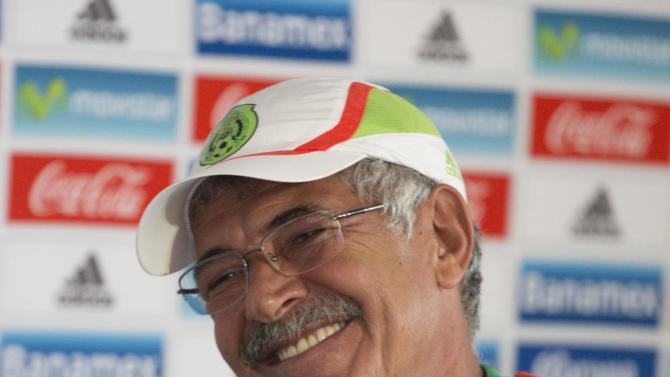 Mexico's interim soccer coach Ricardo Ferretti, of Brazil, gives a press conference at the team's training center in Mexico City, Monday, Oct. 5, 2015. Five days before the playoff game against the US for a berth in the 2017 Confederations Cup, Mexico suffered a major blow because LA Galaxy´s striker Giovani Dos Santos is injured and will not be able to play, said the Mexican interim head coach, Ricardo Ferretti on Monday. (AP Photo/Eduardo Verdugo)