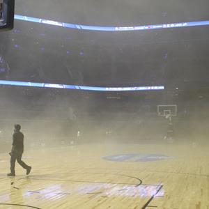 Raw: Smoke Postpones NBA Game in Mexico City