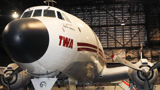 This 2012 photo provided by the National Airline History Museum shows its Lockheed Constellation, or Connie, as the propeller-driven aircraft was known, in Kansas City, Mo. The museum is trying to raise $3.2 million to restore it, the only one left in the U.S. that's airworthy, and recreate millionaire aviator Howard Hughes' record-setting cross-country flight in the plane that transformed commercial air travel. (AP Photo/National Airline History Museum)