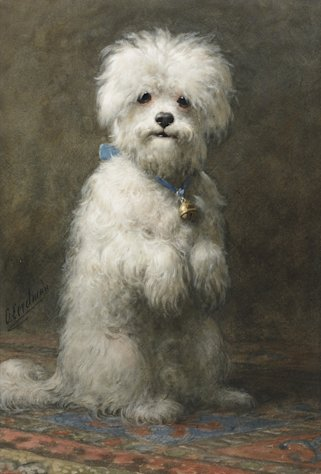 This undated photo provided by Sotheby&#39;s shows a painting of a dog by Otto Eerelman titled &quot;Sitting Up,&quot; that belonged to the late philanthropist Brooke Astor. Sotheby&#39;s said the piece will be offered at a Sept. 24-25, New York auction of some 900 personal items from Astor&#39;s Park Avenue duplex and her stone manor in Westchester. (AP Photo/Sotheby&#39;s)