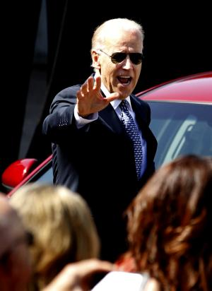 Vice President Joe Biden waves as he arrives to speaks at Staffilino Chevrolet, Thursday, May 17, 2012 in Martins Ferry, Ohio. (AP Photo/Keith Srakocic)