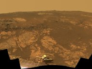 As NASA's Mars Exploration Rover Opportunity neared the ninth anniversary of its landing on Mars, the rover was working in the 'Matijevic Hill' area seen in this view from Opportunity's panoramic camera (Pancam). Images for this mosaic obtained