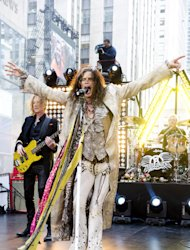"FILE - In this Nov. 2, 2012 file photo, Steven Tyler of Aerosmith performs on NBC's ""Today"" show in New York. The former ""American Idol"" judge Tyler responded on Tuesday, Nov. 27, 2012, to Nicki Minaj's claim that he's a racist during an interview with the Canadian entertainment news program ""eTalk"" following Twitter comments made by Minaj, an ""Idol"" judge this season. (Photo by Charles Sykes/Invision/AP, File)"
