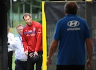 Czech goalkeeper Petr Cech leaves a training session in Wroclaw. Cech insisted on Thursday he will be ready for Saturday's Euro 2012 Group A showdown with co-hosts Poland despite a shoulder problem