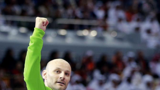 Goalkeeper Saric of Qatar celebrates a save during their final match against France of the 24th Men's Handball World Championship in Doha