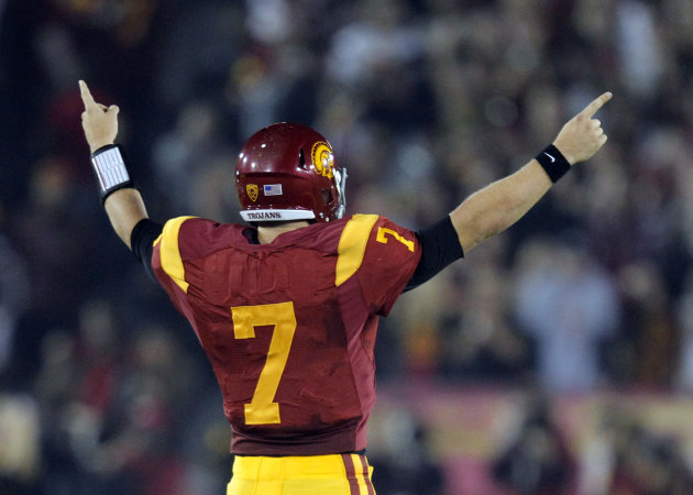 FILE - In this Nov. 26, 2011 file photo, Southern California quarterback Matt Barkley reacts during an NCAA college football game against UCLA in Los Angeles. USC is ranked No. 1 in the Associated Pre