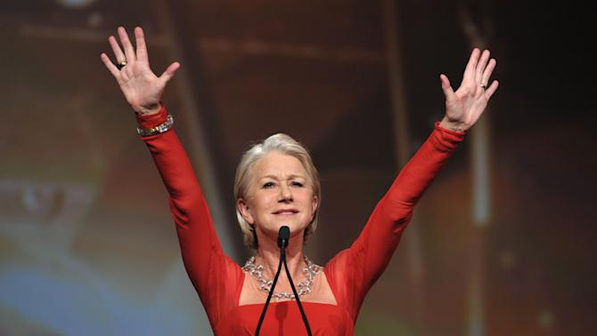 Helen Mirren appears on stage at the 24th Annual Palm Springs International Film Festival Awards Gala on Saturday, Jan. 5, 2013 in Palm Springs, Calif. The gala honors individuals in the film industry with awards for acting, directing, achievement in film scoring and lifetime achievement. (Photo by John Shearer/Invision/AP Images)