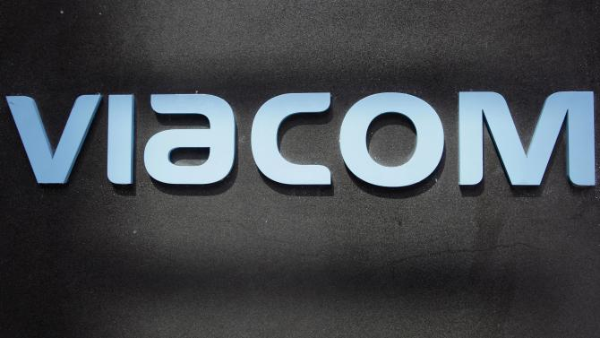 FILE - This Aug. 3, 2011, file photo, shows the Viacom logo at Viacom headquarters in New York. Viacom Inc., the owner of Paramount Pictures, MTV and Comedy Central, on Thursday, May 3, 2012, said its net income rose 56 percent in the latest quarter, even though a slate of movies that was lackluster compared with last year held back revenue. (AP Photo/Mark Lennihan, File)