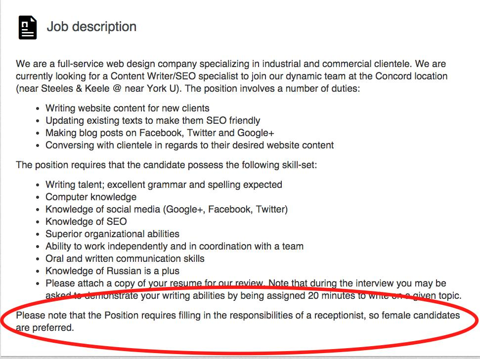 A company in Canada posted an incredibly sexist job listing to LinkedIn