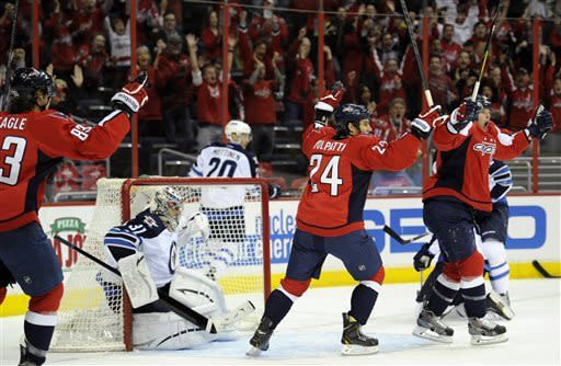 Capitals clinch Southeast with 5-3 win over Jets