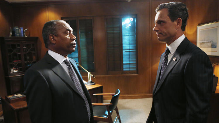 "This photo provided by ABC shows Joe Morton, left, and Tony Goldwyn, in a scene from the TV series, ""Scandal,"" Thursdays, (10:00-11:00 p.m., ET) on the ABC Television Network. (AP Photo/ABC, Randy Holmes)"