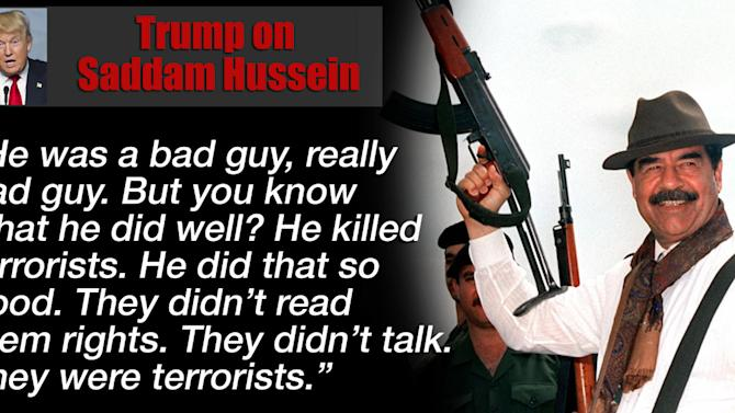 Donald Trump has praised Saddam Hussein... again