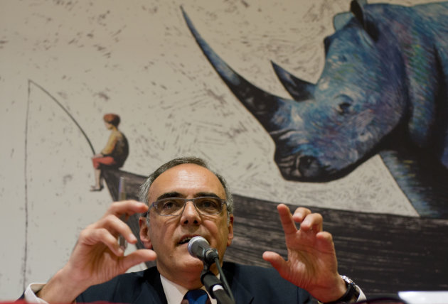 Artistic Director of the 69th edition of the Venice Film Festival Alberto Barbera speaks during a press conference to present the 69th edition of the festival in Rome, Thursday, July 26, 2012. In the background, a sketch from the video intro of the festival. (AP Photo/Domenico Stinellis)