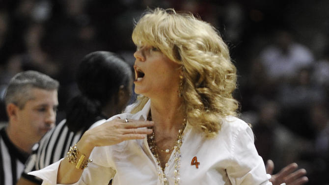 Oklahoma coach Sherri Coale yells to players during the first half of an NCAA college basketball game against the Texas A&M Sunday, Jan. 8, 2012, in College Station, Texas. (AP Photo/Pat Sullivan)