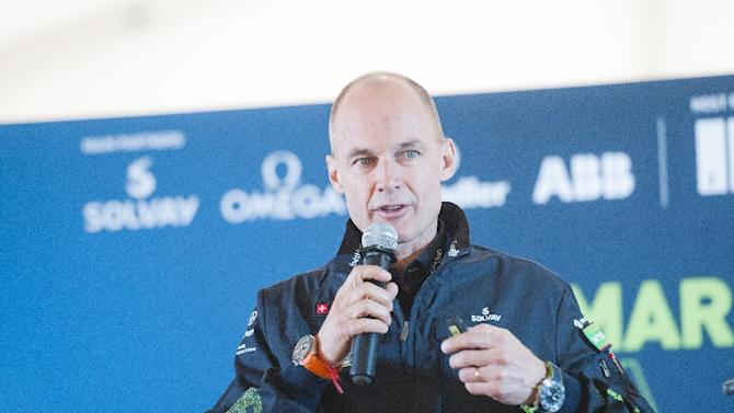 Swiss pilot Bertrand Piccard of Solar Impulse 2 speaks during a press conference at Mandalay international airport, Myanmar, on March 20, 2015