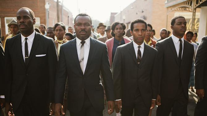 """This photo released by Paramount Pictures shows, from left, foreground: Colman Domingo as Ralph Abernathy, David Oyelowo as Dr. Martin Luther King, Jr., André Holland as Andrew Young, and Stephan James as John Lewis in a scene from the film, """"Selma,"""" from Paramount Pictures, Pathé, and Harpo Films. (AP Photo/Paramount Pictures, Atsushi Nishijima)"""