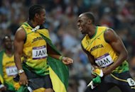 Jamaica's Usain Bolt (R) and Jamaica's Yohan Blake (L) celebrate after winning the men's 4X100 relay final at the London Olympic Games on August 11, 2012. Blake could join Bolt in Australia's domestic Twenty20 Big Bash League, in a showdown between the world's two fastest men on the cricket field