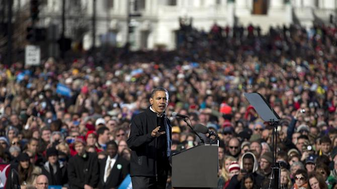 President Barack Obama gestures as he speaks at a campaign event, Monday, Nov. 5, 2012, in Madison, Wis.  (AP Photo/Carolyn Kaster)