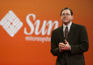 FILE - In this Oct. 25, 2006 file photo, Sun Microsystems CEO Jonathan Schwartz gives a keynote address at Oracle Open World conference in San Francisco. Social media offer new opportunities for pithy farewells to zing around the world in an instant. Schwartz managed a classic of the genre when he quit his job in a philosophical tweeted haiku in 2010: &quot;Financial crisis/Stalled too many customers/CEO no more.&quot; (AP Photo/Paul Sakuma, File)